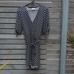 Seed geometric white and navy playsuit